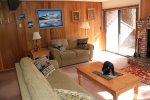 Mammoth Rental Sunrise 6 - Spacious Living Room with Access to Outside Deck